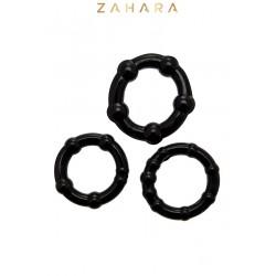 Set 3 Cockrings noir - Zahara