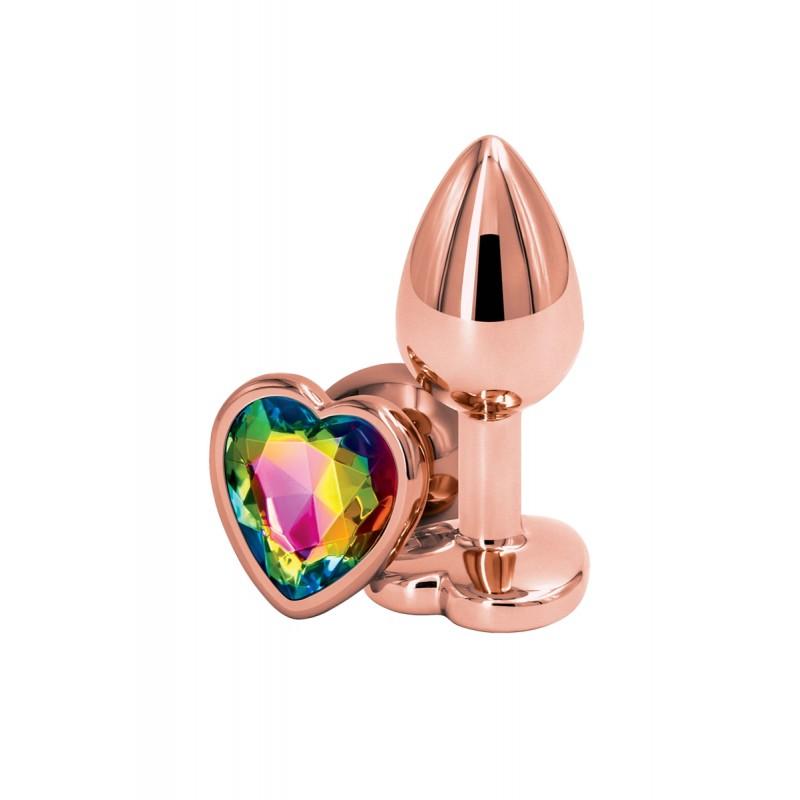Plug anal aluminium coeur Rose Gold S - Rear Assets