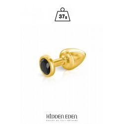 Plug bijou aluminium or et noir XS - Hidden Eden