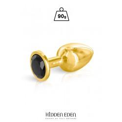 Plug bijou aluminium or et noir M - Hidden Eden
