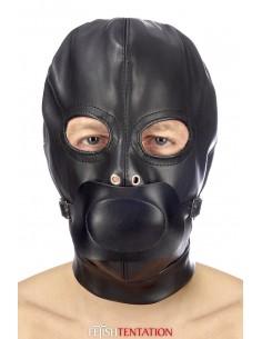 Cagoule BDSM simili cuir avec baillon amovible - Fetish Tentation